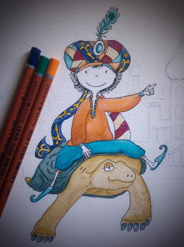 """Ilustration jeunesse aquarelle et pastels secs """"brin et sa tortue"""""""