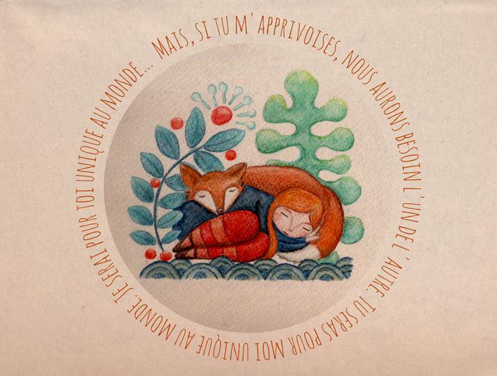 Illustration jeunesse le renard et le petit Prince