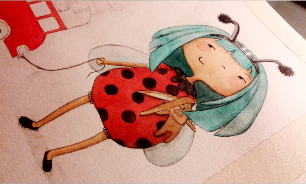 Illustration jeunesse Coccinelle aquarelle (détail)