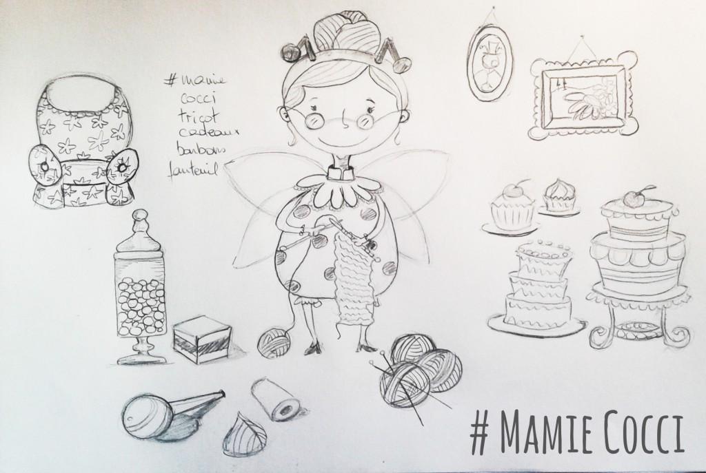 Sketche recherche personnage illustration jeunesse - La grand-mère