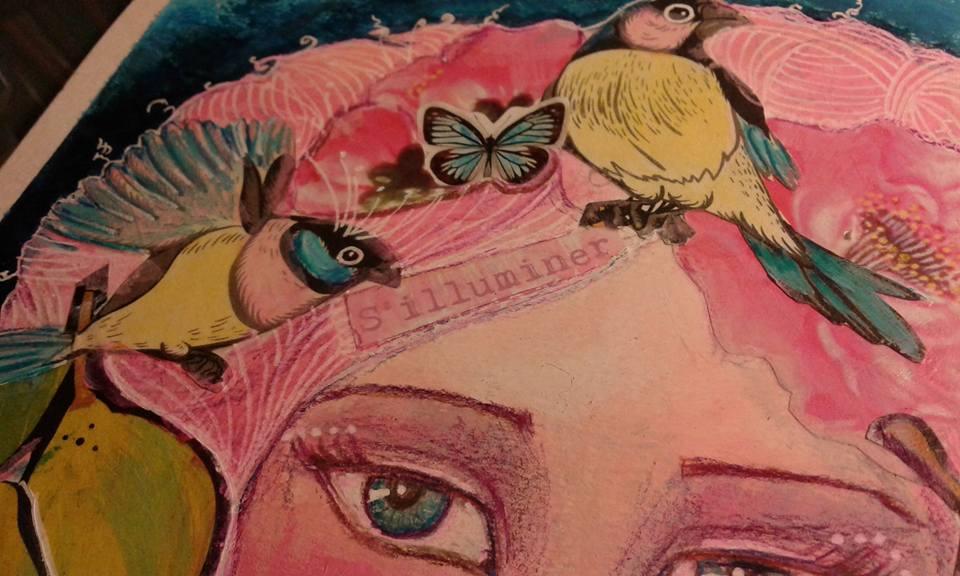 illustration mixed media detail après couleur