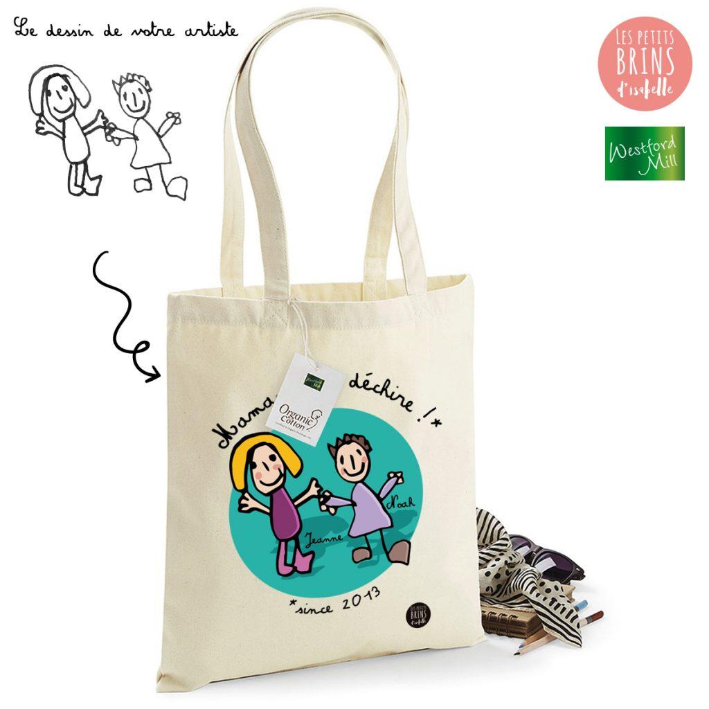 Sac Cabas Tote Bag personnalisé avec le dessin de votre enfant sublimé - Maman qui déchire
