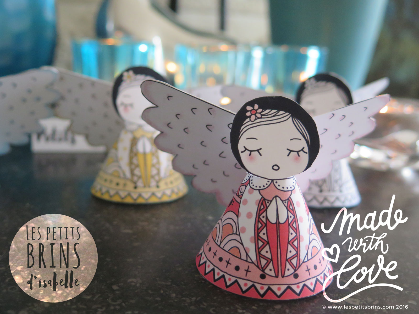 anges de no l fabriquer soi m me paper toys angels ornaments les petits brins d 39 isabelle. Black Bedroom Furniture Sets. Home Design Ideas