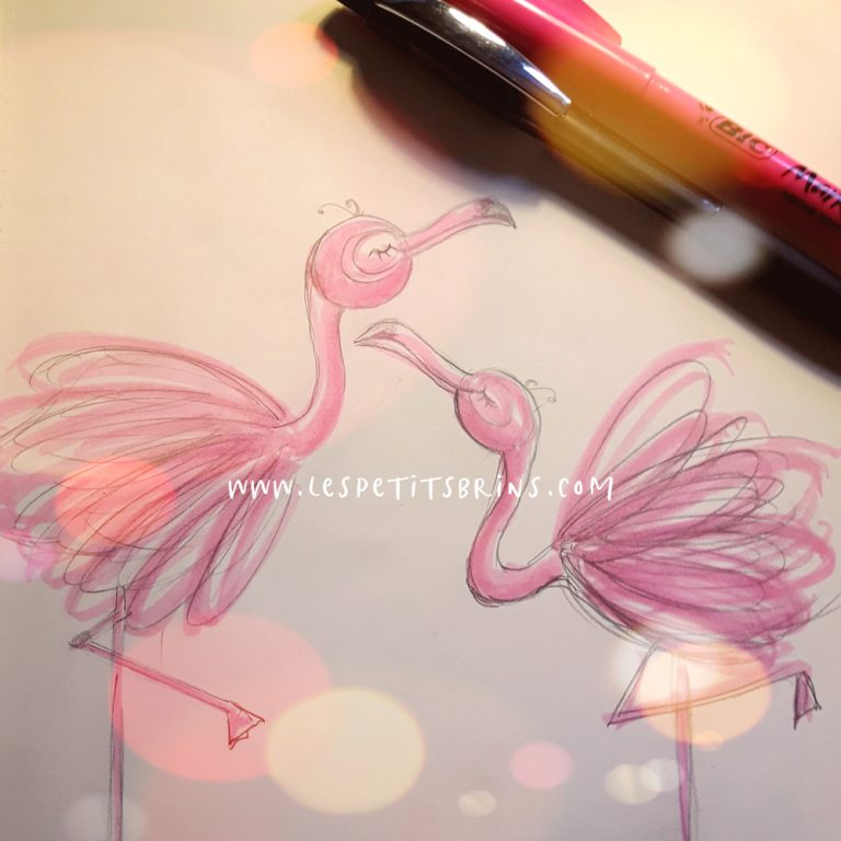 Illustration flamant rose surligneur fluo