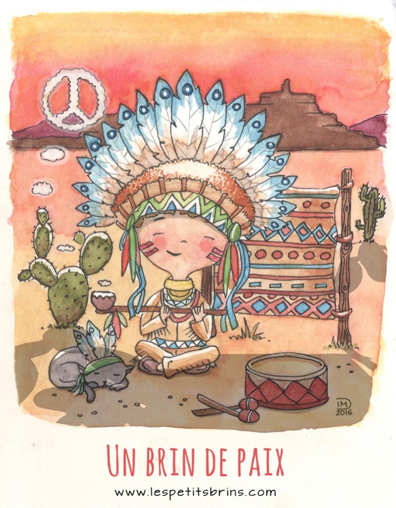 """Illustration jeunesse indien """"un brin de paix"""""""