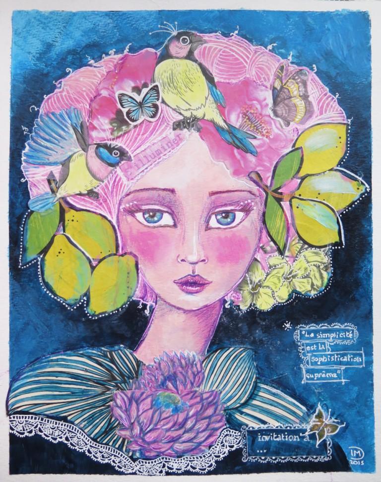 Illustration mixed media inspired by jane davenport