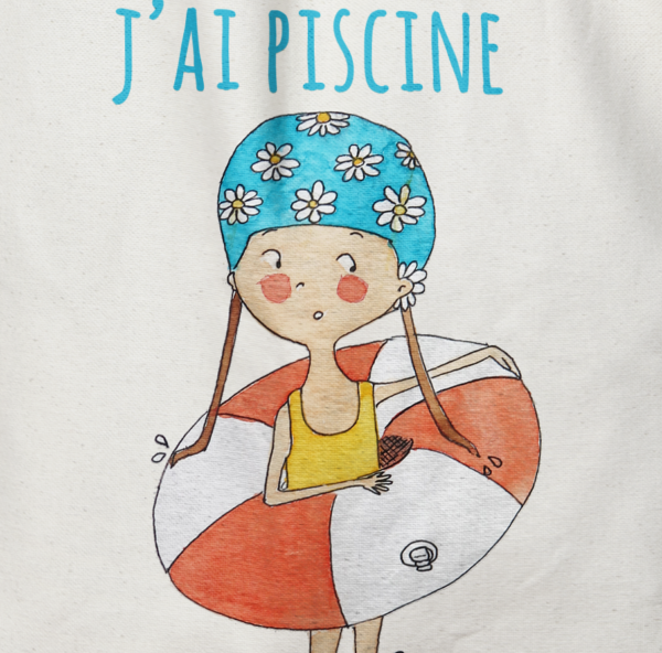 "Tote Bag illustration ""je peux pas j'ai piscine"""