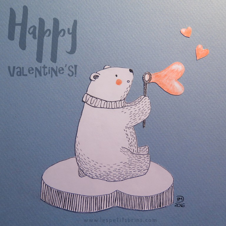 Illustration jeunesse Saint Valentin - Ours polaire - Valentine