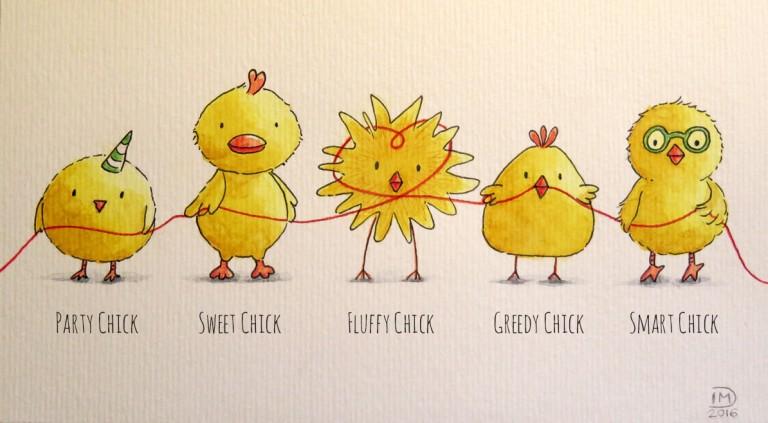 Illustration jeunesse Poussins d'amour - Love chicks