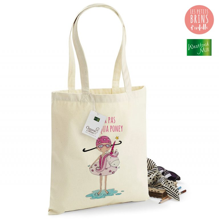 "Sac Cabas Tote Bag illustration ""je peux pas j'ai aqua poney"""