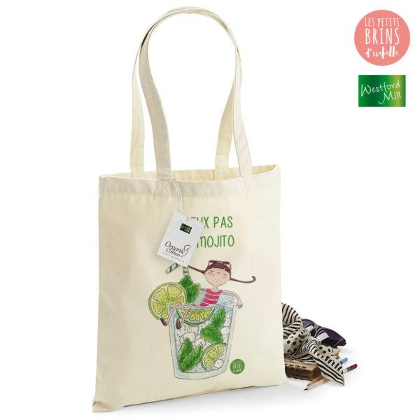 """Sac Cabas Tote Bag illustration """"je peux pas j'ai Mojito"""""""