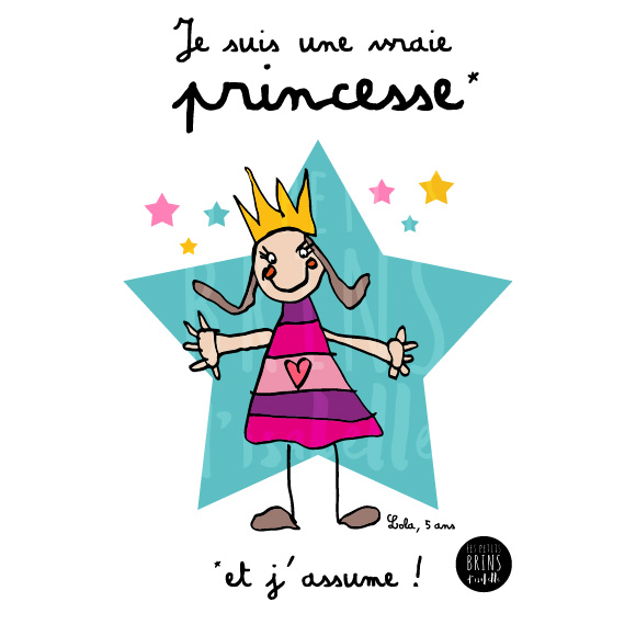 Sac Cabas Tote Bag personnalisé avec le dessin de votre enfant sublimé - Je suis une vraie princesse