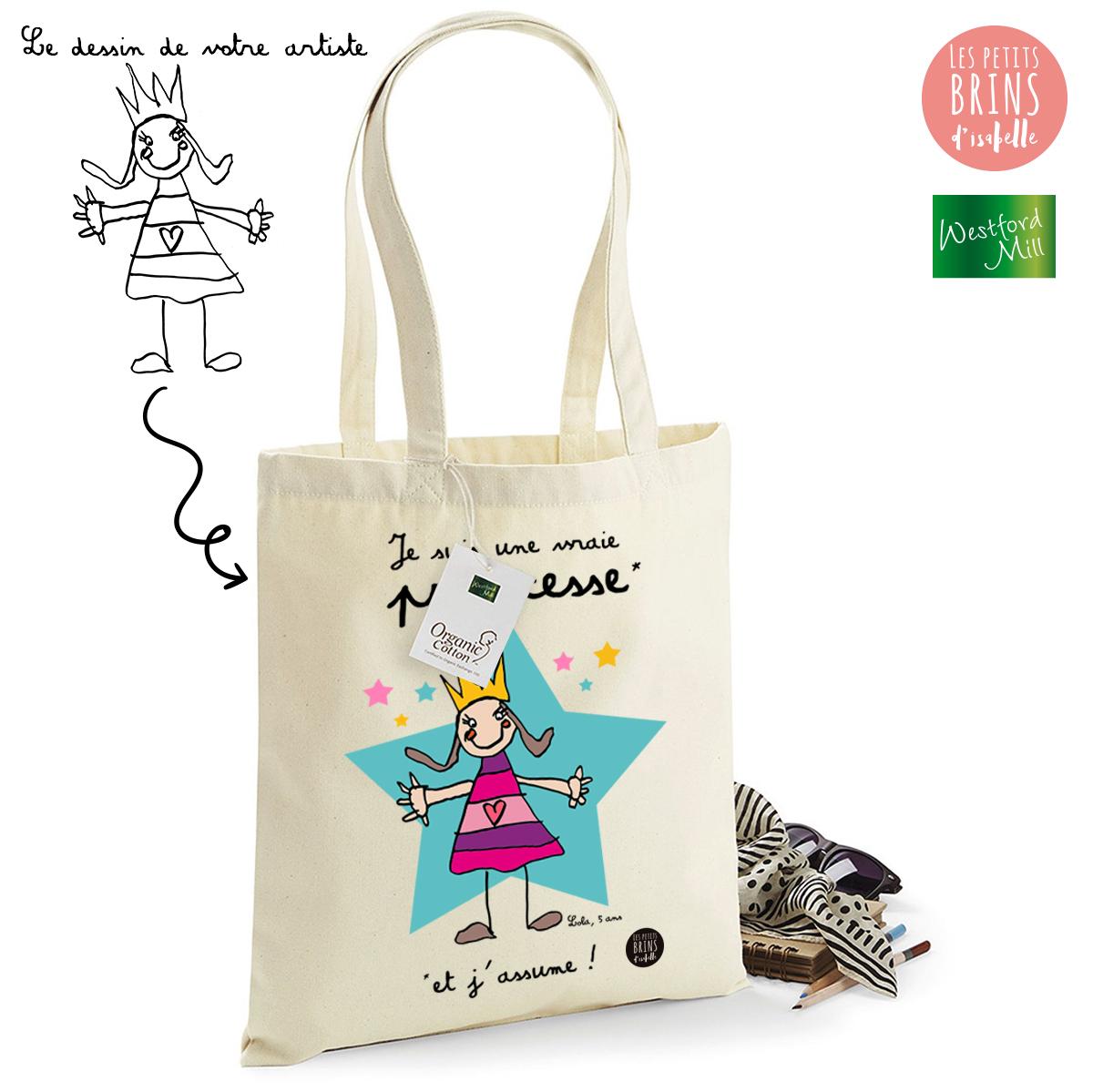 4e7a3bd19fa223 Sac Cabas Tote Bag personnalisé avec le dessin de votre enfant sublimé - Je  suis une