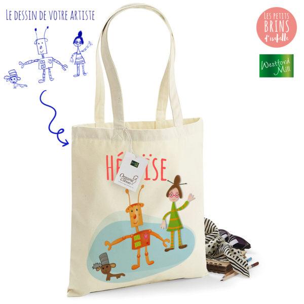 Sac Cabas Tote Bag personnalisé avec le dessin de votre enfant