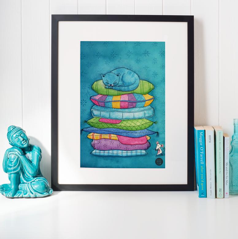 Illustration jeunesse Chat Bleu Princesse au petit pois