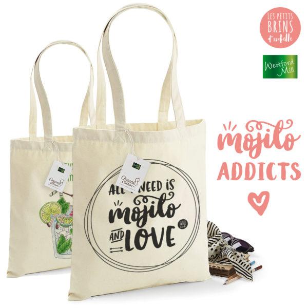 Combo sac cabas tote bag j'peux pas j'ai mojito et All I need is love is mojito
