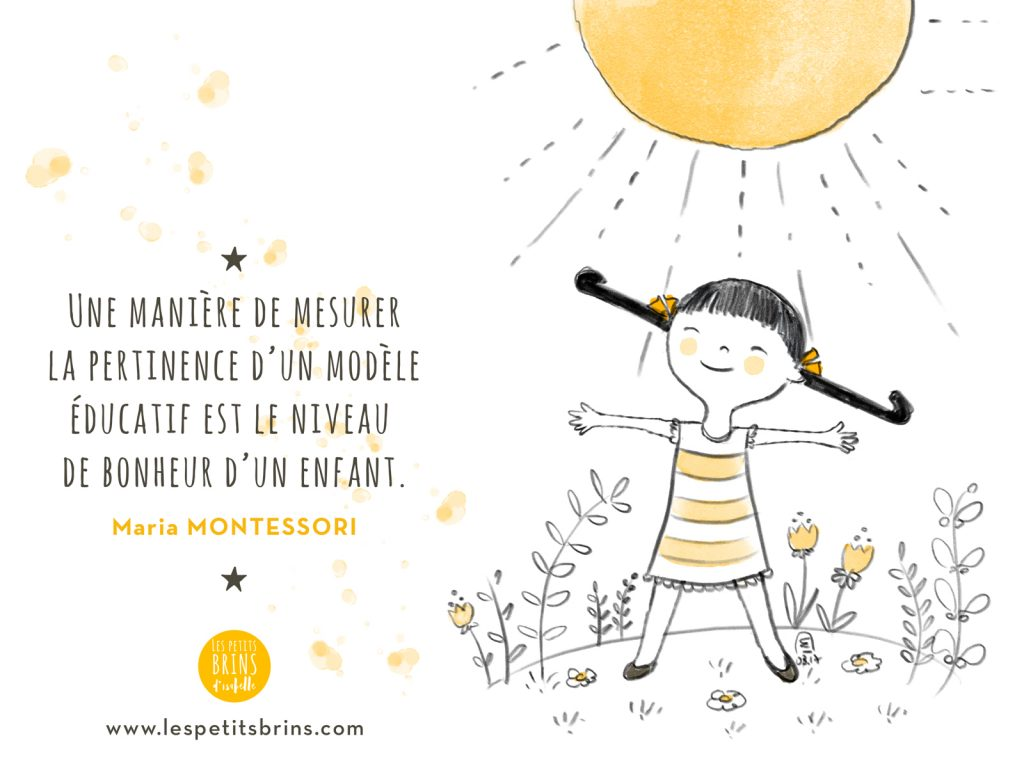 Citation illustrée Maria Montessori - Le bonheur d'un enfant illustration