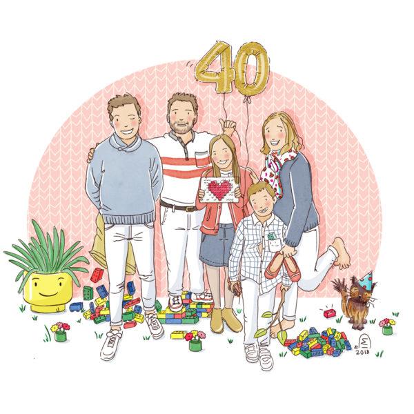 illustration portrait de famille illustré et personnalisé pour un anniversaire
