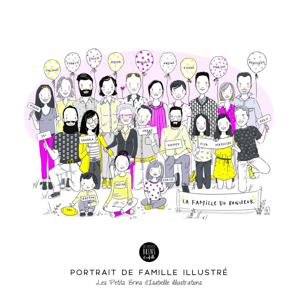 Portrait de famille illustré sur mesure illustration