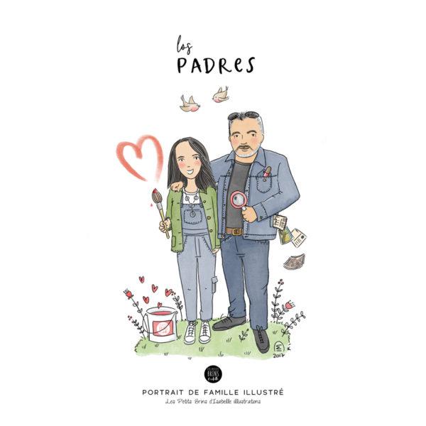 Portrait de couple illustré Cadeau d'annniversaire de mariage illustration
