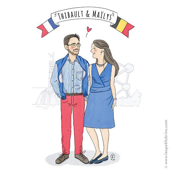 Portrait de couple illustré personnalisé