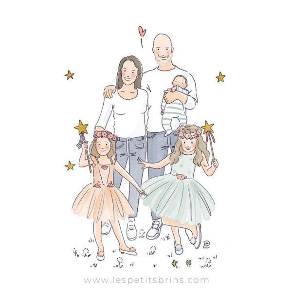 Portrait de famille illustré personnalisé. Illustration de naissance.