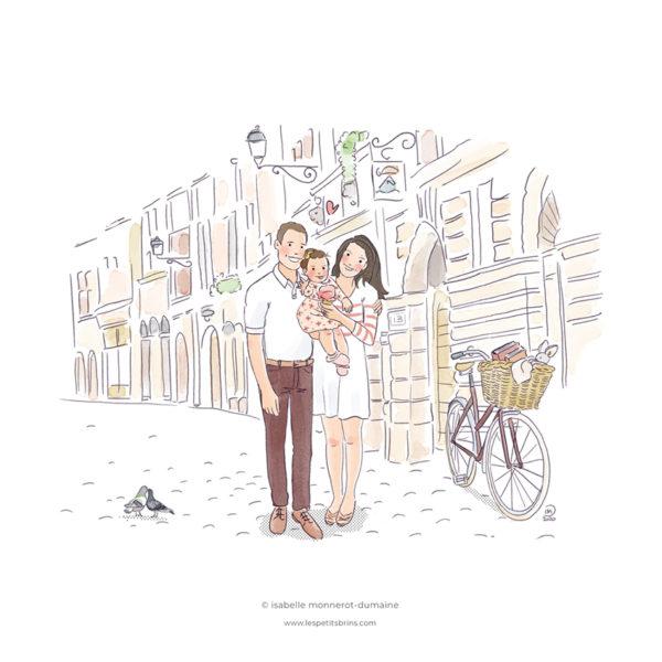 Portrait de famille illustré sur mesure. Décor détaillé de Lyon, rue de la Juiverie.