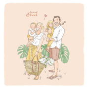 Illustration originale portrait de famille illustré sur mesure illustratrice