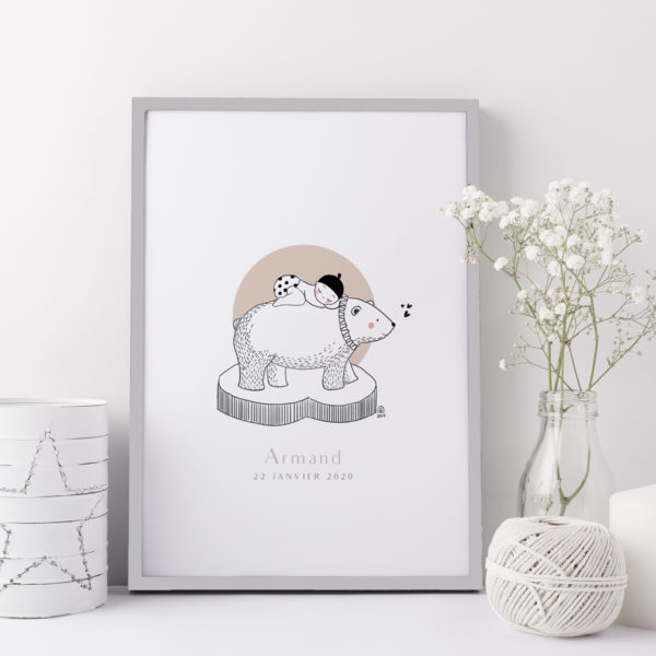 Affiche cadeau de naissance bébé personnalisable ours polaire