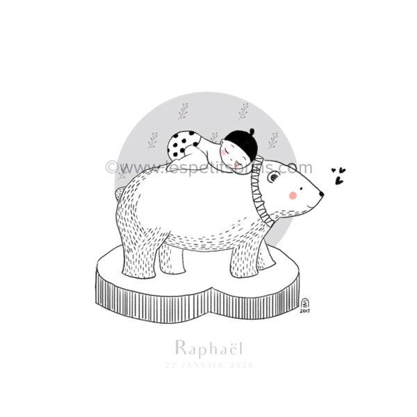 Affiche naissance ours polaire personnalisable petites brindilles - Faire-Part