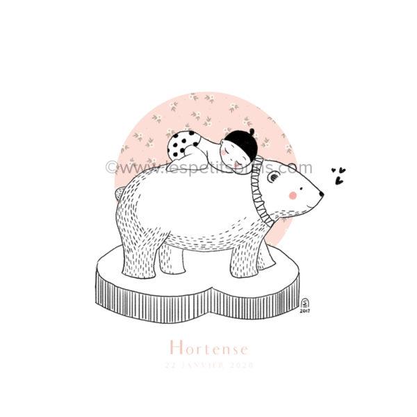 Affiche naissance ours polaire personnalisable petites fleurs - Faire-Part