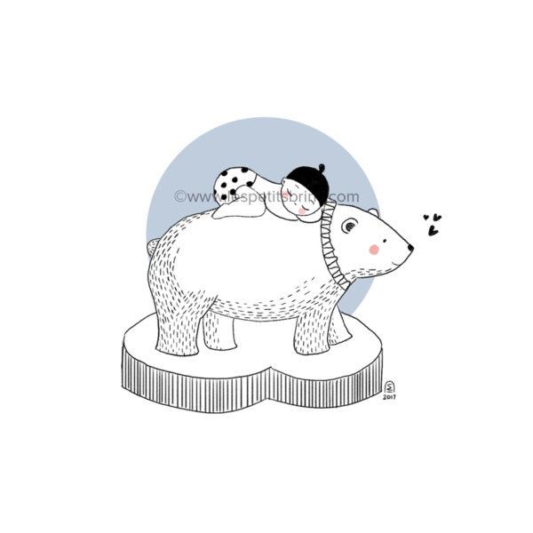 Affiche naissance ours polaire personnalisable bleu glacier - Faire-Part