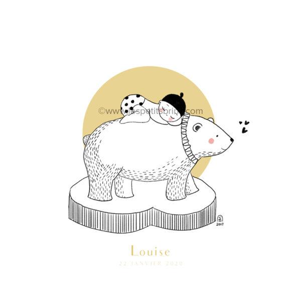 Affiche naissance ours polaire personnalisable jaune moutarde - Faire-Part
