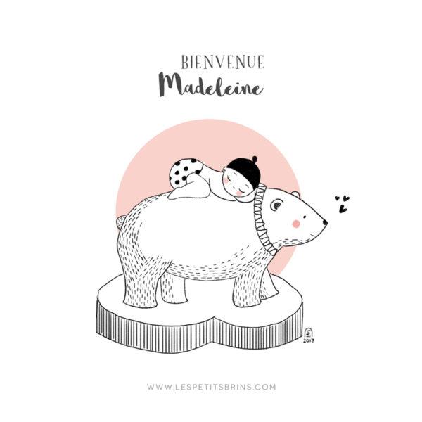 Affiche naissance ours polaire personnalisable rose dragée - Faire-Part