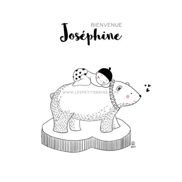 Affiche naissance ours polaire personnalisable sans - Faire-Part