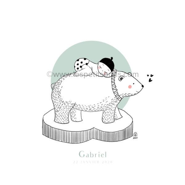 Affiche naissance ours polaire personnalisable vert amande - Faire-Part