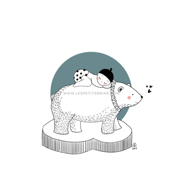 Affiche naissance ours polaire personnalisable vert eucalyptus - Faire-Part