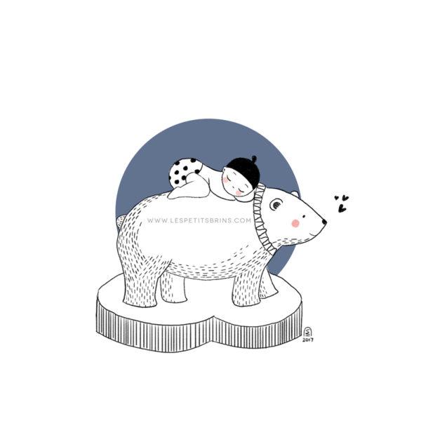 Affiche naissance ours polaire personnalisable ardoise pilée - Faire-Part