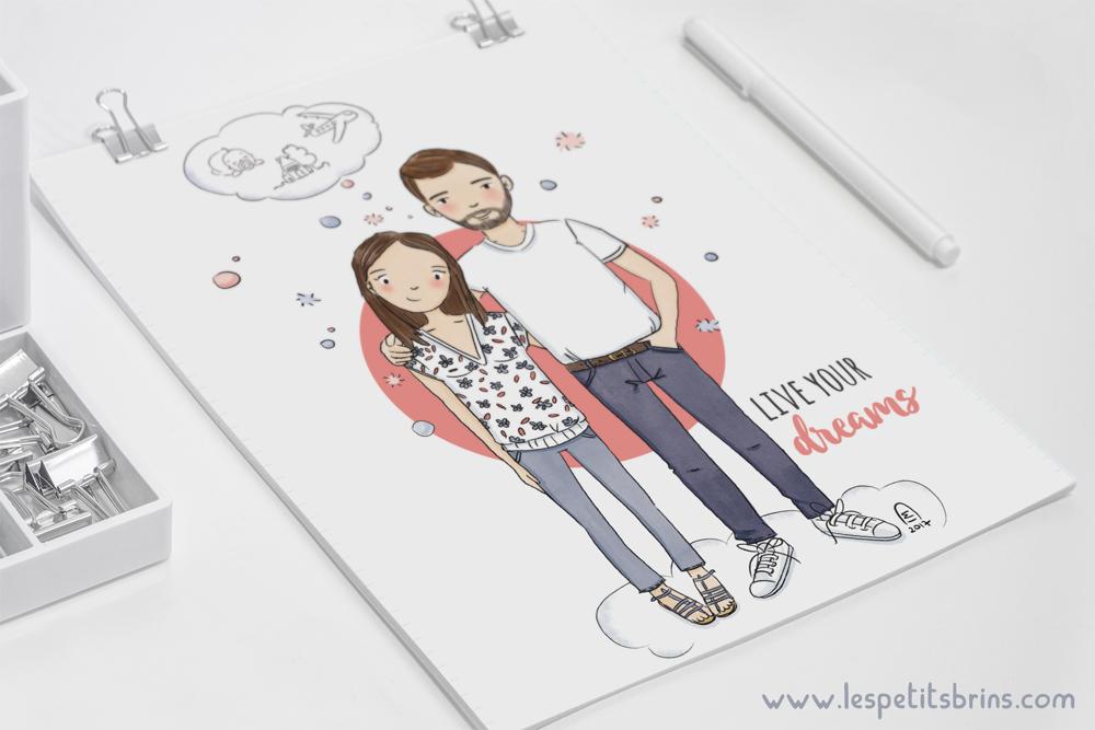 portrait de couple personnalisé illustré