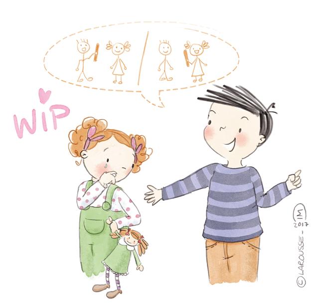 Illustration jeunesse méthode Montessori - Bâton de parole