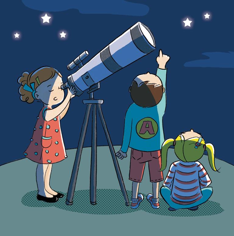 illustration jeunesse observation du ciel