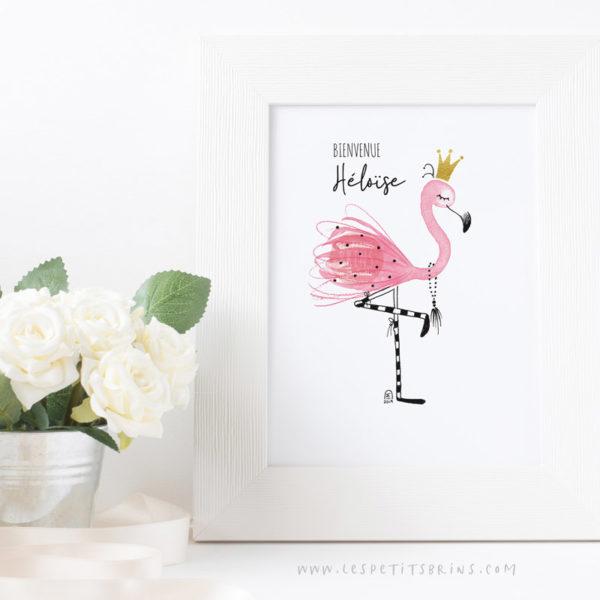 Affiche Flamant Rose décoration chambre bébé personnalisable