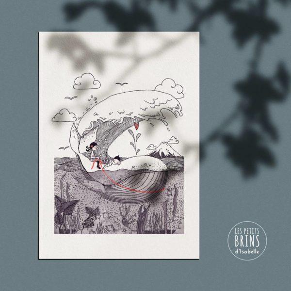 Affiche déco baleine whale d'après la vague d'Hokusai