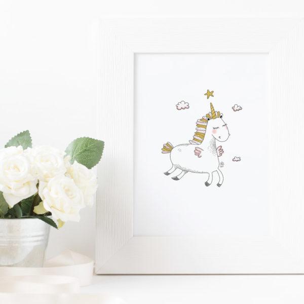 affiche illustration licorne décoration chambre enfant bébé