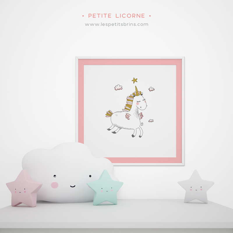affiche licorne d coration chambre les petits brins d 39 isabelle. Black Bedroom Furniture Sets. Home Design Ideas