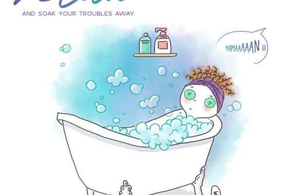 Illustration jeunesse citation humour bain moussant