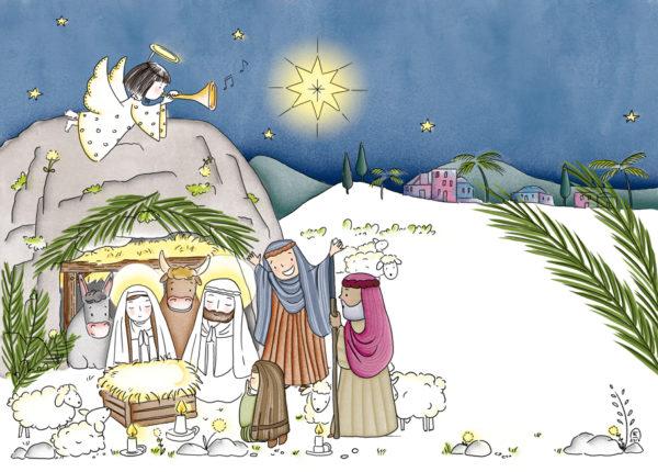 Illustration jeunesse Noël, crèche, nativité, Diocèse de Nanterre