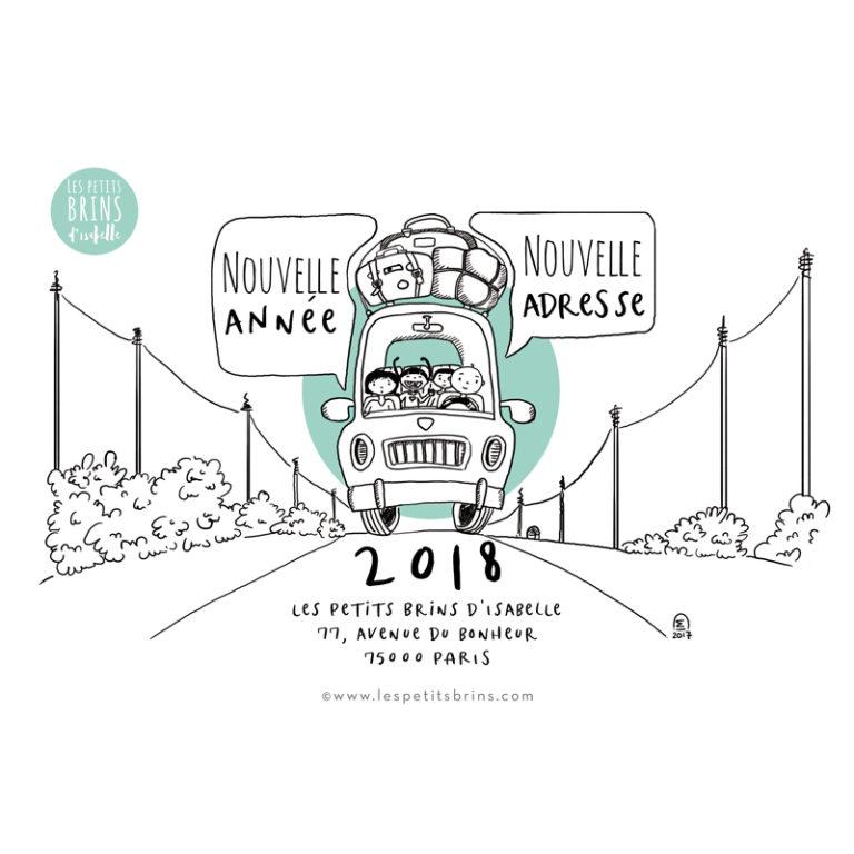 Illustration personnalisée nouvelle adresse, déménagement, nouvelle année, voeux
