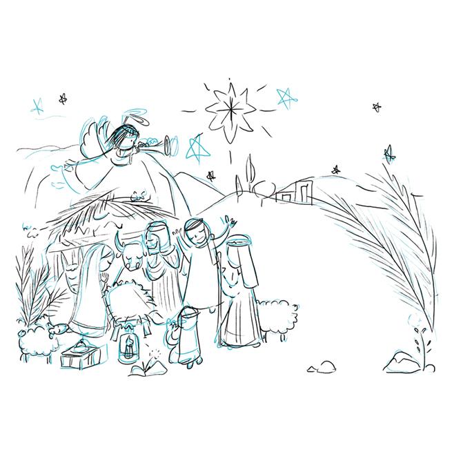 Illustration sketch croquis Crèche de Noël