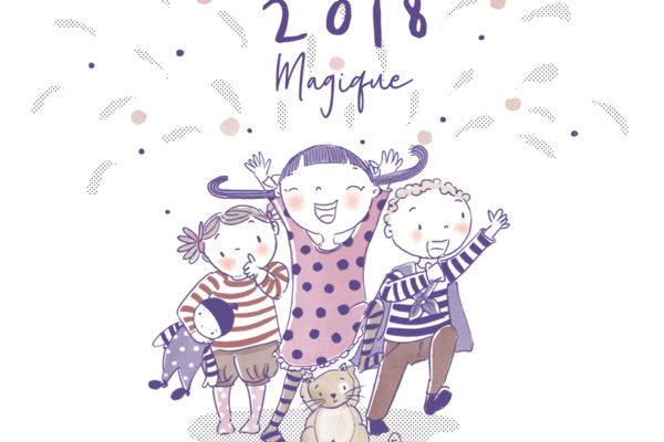 Illustration jeunesse Bonne année 2018 magique !